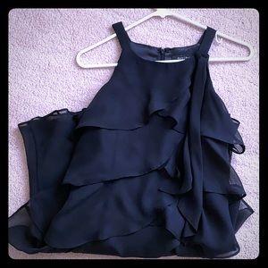 Black halter tiered dress